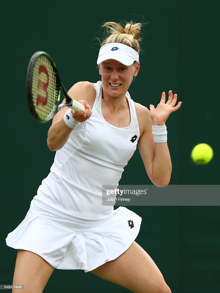 <a gi-track='captionPersonalityLinkClicked' href=/galleries/search?phrase=Alison+Riske&family=editorial&specificpeople=6975997 ng-click='$event.stopPropagation()'>Alison Riske</a> of The United States plays a forehand during the Men's Singles first round match against Roberta Vinci of Italy on day two of the Wimbledon Lawn Tennis Championships at the All England Lawn Tennis and Croquet Club on June 28, 2016 in London, England.