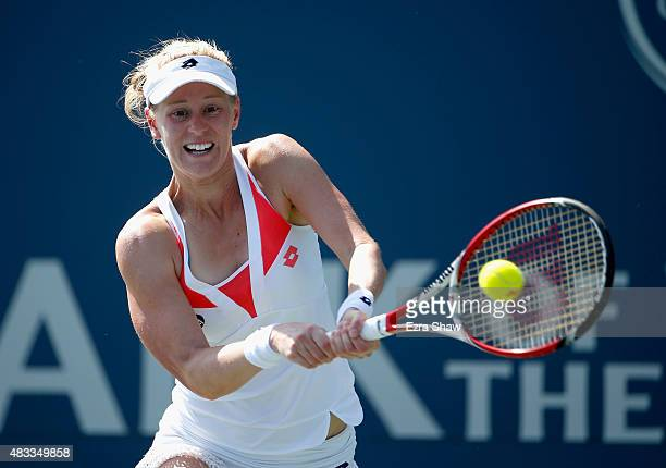 Alison Riske of the United States returns a shot to Elina Svitolina of the Ukraine during Day 5 of the Bank of the West Classic at Stanford...