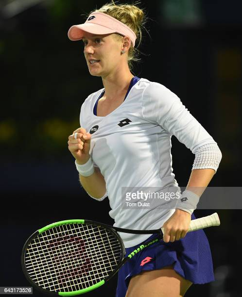 Alison Riske of United States celebrates a point during her match against Coco Vandeweghe of United States on day two of the WTA Dubai Duty Free...