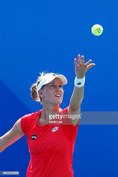 Alison Riske of United States in action against Sloane Stephens of United States during her match on day 2 of 2015 Dongfeng Motor Wuhan Open 2015 at...