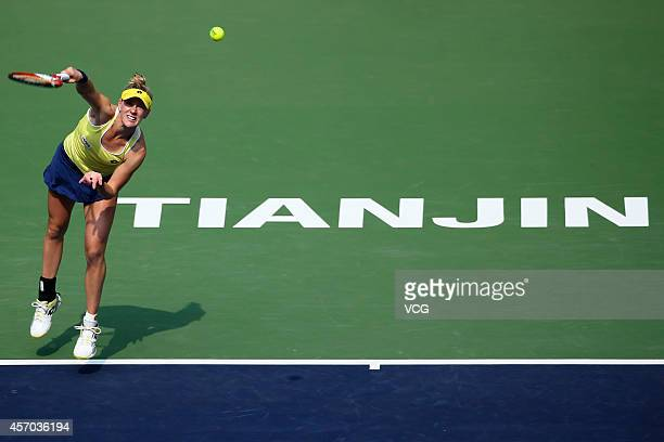 Alison Riske of USA competes with Saisai Zheng of China at Tianjin Tuanbo International Tennis Centre during day six of Tianjin Open on October 11...
