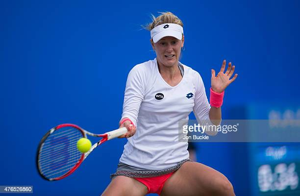 Alison Riske of USA in action during her match against Mirjana LucicBaroni of Croatia on day three of the WTA Aegon Open Nottingham at Nottingham...