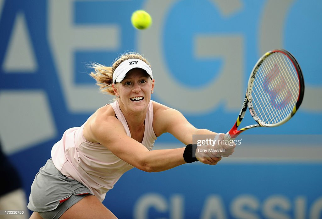 <a gi-track='captionPersonalityLinkClicked' href=/galleries/search?phrase=Alison+Riske&family=editorial&specificpeople=6975997 ng-click='$event.stopPropagation()'>Alison Riske</a> of USA returns a shot against Tamira Paszek of Austria during The AEGON Classic Tennis Tournament at Edgbaston Priory Club on June 11, 2013 in Birmingham, England.