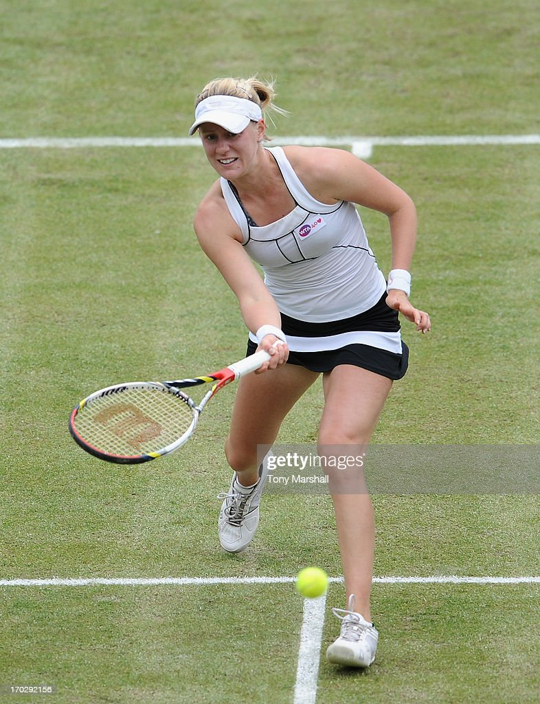 <a gi-track='captionPersonalityLinkClicked' href=/galleries/search?phrase=Alison+Riske&family=editorial&specificpeople=6975997 ng-click='$event.stopPropagation()'>Alison Riske</a> of USA returns a shot from Anne Keothavong of Great britain during the first round of The AEGON Classic Tennis Tornament at Edgbaston Priory Club on June 10, 2013 in Birmingham, England.