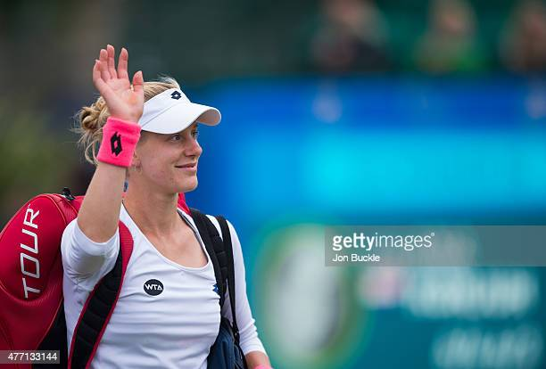 Alison Riske of USA walks off after her loss to Ana Konjuh of Croatia on day seven of the WTA Aegon Open Nottingham at Nottingham Tennis Centre on...