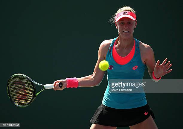 Alison Riske plays a match against Mirjana LucicBaroni of Croatia during Day 3 at the Miami Open at Crandon Park Tennis Center on March 25 2015 in...