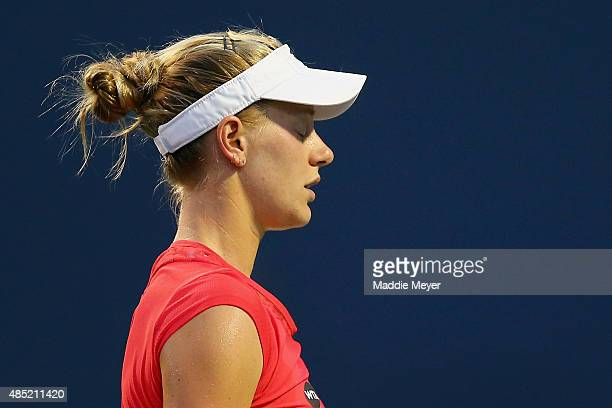 Alison Riske reacts during her match against Caroline Wozniaki of Denmark during day 2 of the Connecticut Open at Connecticut Tennis Center at Yale...