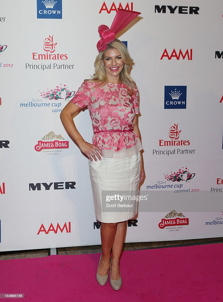 Alison Saville, the Myer Fashions on the Field Ambassador attends the The 2012 Melbourne Cup Carnival Launch at Crown Palladium on October 29, 2012 in Melbourne, Australia.