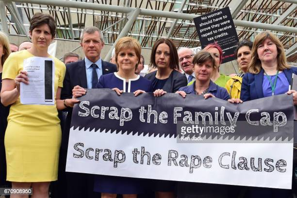 Alison Thewliss MP is joined by Scottish party leaders Willie Rennie First Minister Nicola Sturgeon Kezia Dugdale Sandy Brindley of Rape Crisis...