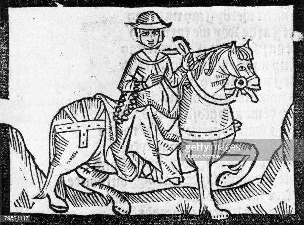 Alisoun the Wife of Bath in a scene from 'The Canterbury Tales' by Geoffrey Chaucer A woodcut from Richard Pynson's 1492 edition