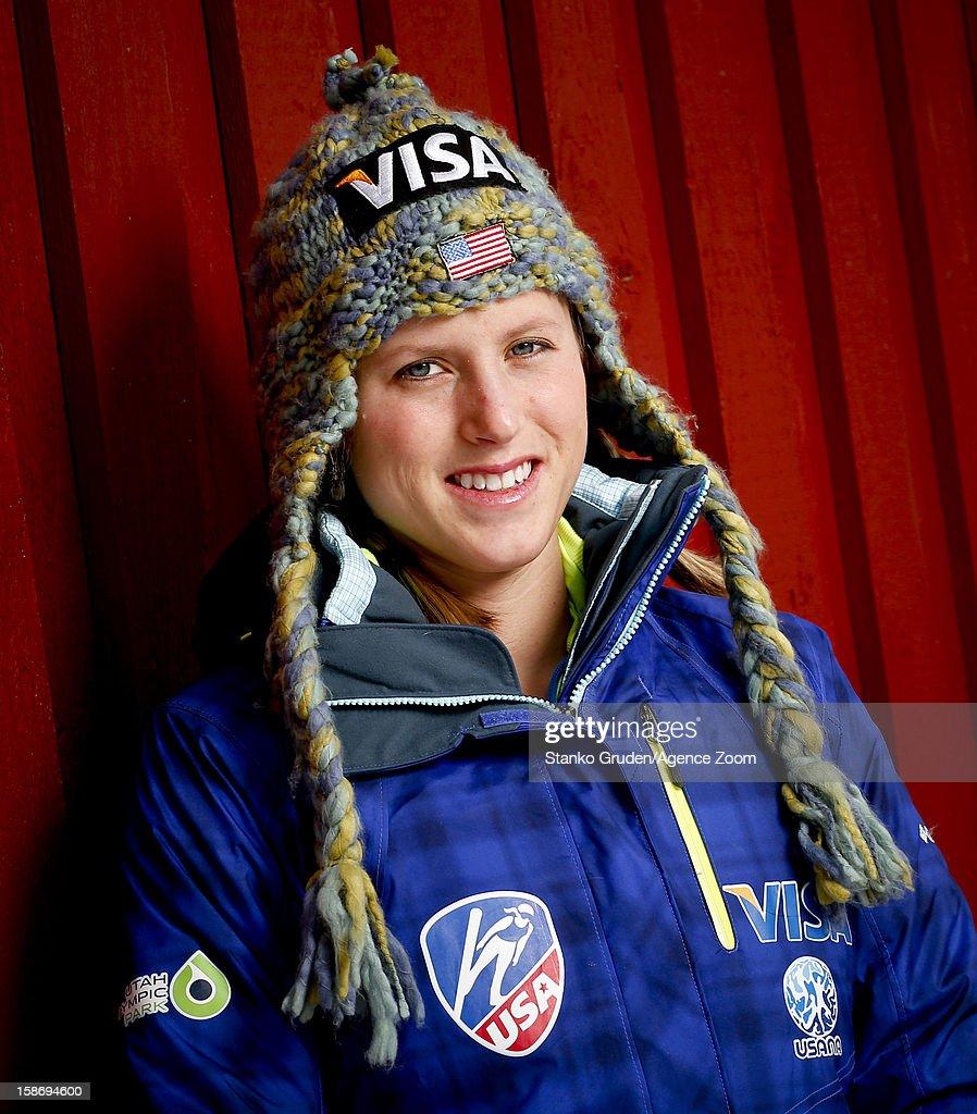 Alissa Johnson of the USA Women's Ski Jumping Team poses on December 15, 2012 in Ramsau, Austria.