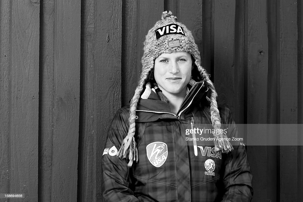 Image has been converted to black and white.) Alissa Johnson of the USA Women's Ski Jumping Team poses on December 15, 2012 in Ramsau, Austria.