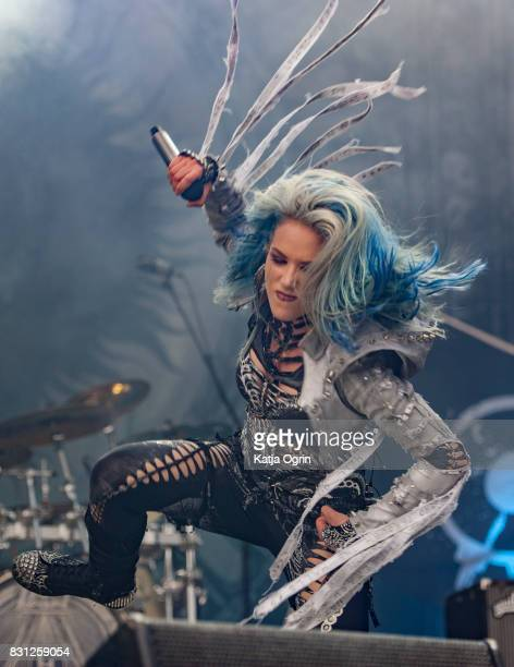 Alissa WhiteGluz of Arch Enemy performing live on stage on day 3 at Bloodstock Festival at Catton Hall on August 13 2017 in Burton Upon Trent England