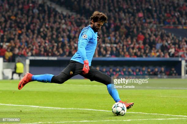Alisson Becker #1 of AS Roma during the UEFA Champions League group C match between Club Atletico de Madrid and AS Roma at Wanda Metropolitano on...