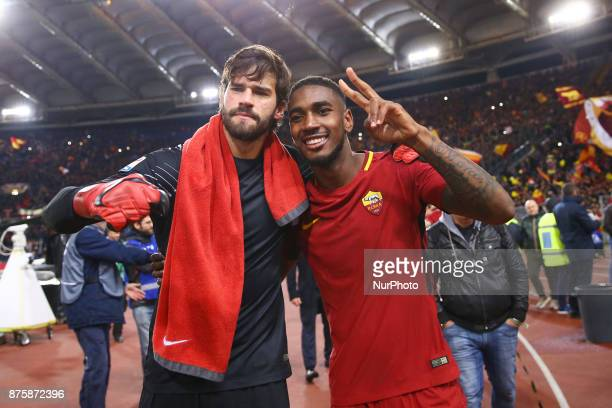 Alisson Becker and Gerson of Roma celebrating during the Italian Serie A football match AS Roma vs Lazio on November 18 2017 at the Olympic stadium...