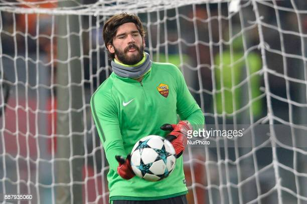 Alisson Becker during the Champions League football match AS Roma vs Qarabag at the Olympic Stadium in Rome on december 05 2017