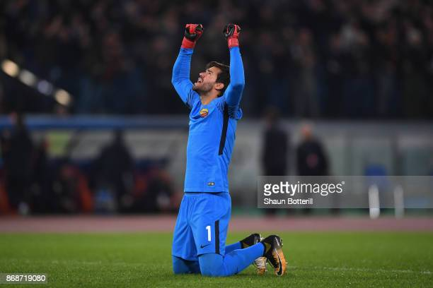Alisson Becker of AS Roma celebrates the first Roma goal during the UEFA Champions League group C match between AS Roma and Chelsea FC at Stadio...