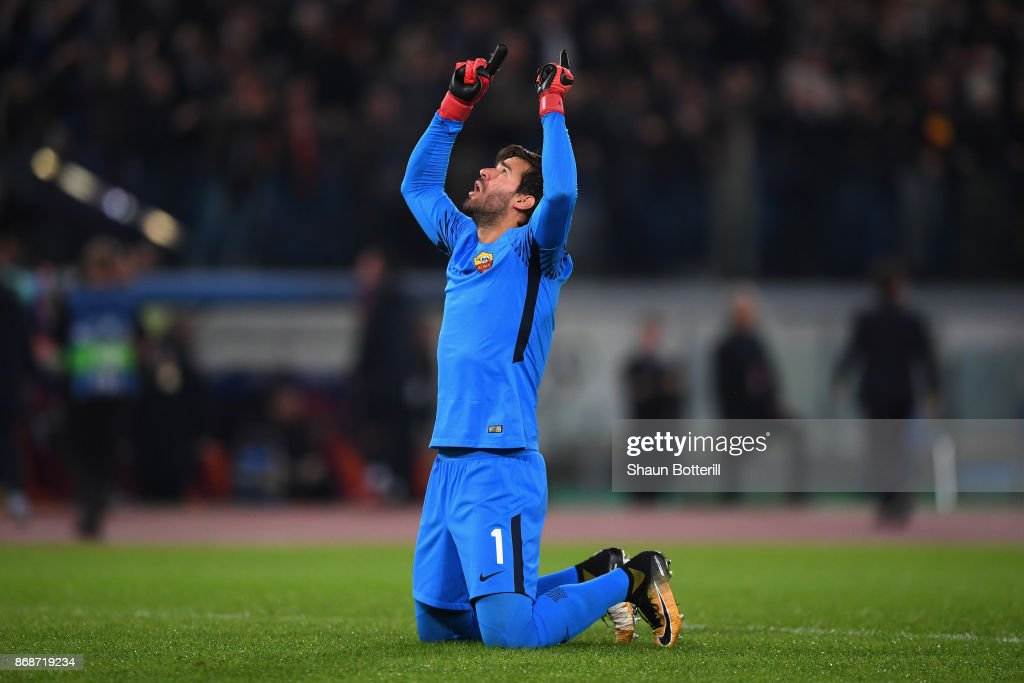 Alisson Becker of AS Roma celebrates the first Roma goal during the UEFA Champions League group C match between AS Roma and Chelsea FC at Stadio Olimpico on October 31, 2017 in Rome, Italy.