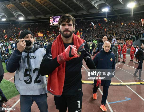 Alisson Becker of AS Roma celebrates the victory after the Serie A match between AS Roma and SS Lazio at Stadio Olimpico on November 18 2017 in Rome...