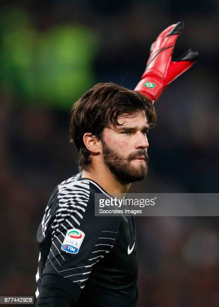 Alisson Becker of AS Roma during the Italian Serie A match between AS Roma v Lazio at the Stadio Olimpico on November 18 2017 in Rome Italy