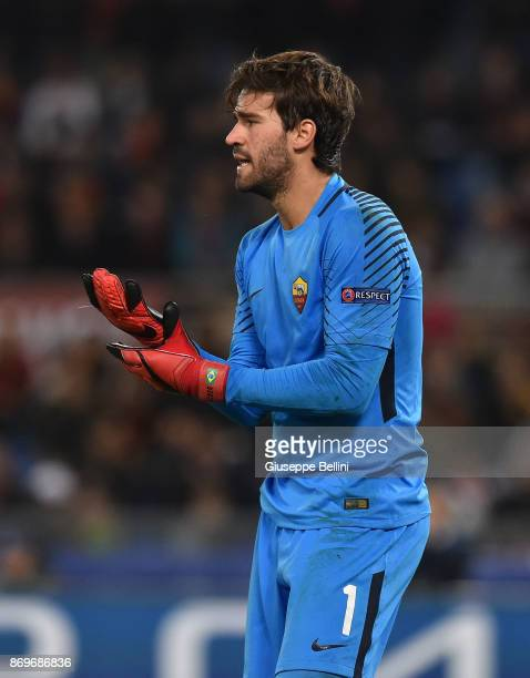 Alisson Becker of AS Roma in action during the UEFA Champions League group C match between AS Roma and Chelsea FC at Stadio Olimpico on October 31...