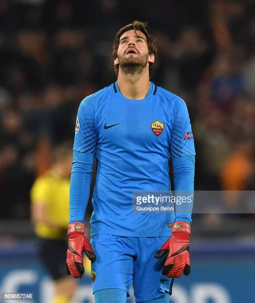 Alisson Becker of Chelsea FC in action during the UEFA Champions League group C match between AS Roma and Chelsea FC at Stadio Olimpico on October 31...