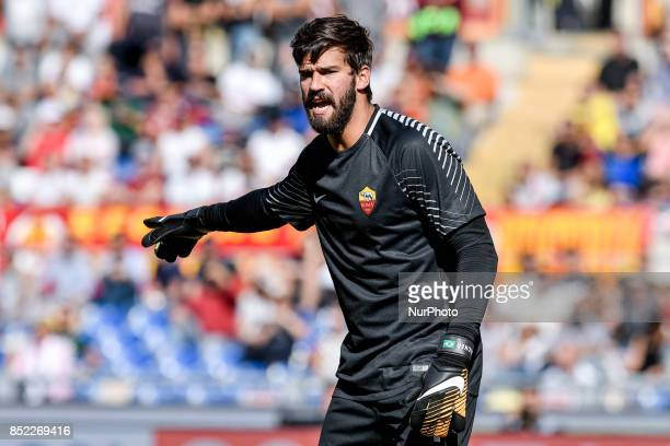 Alisson Becker of Roma during the Serie A match between Roma and Udinese at Olympic Stadium Roma Italy on 23 September 2017