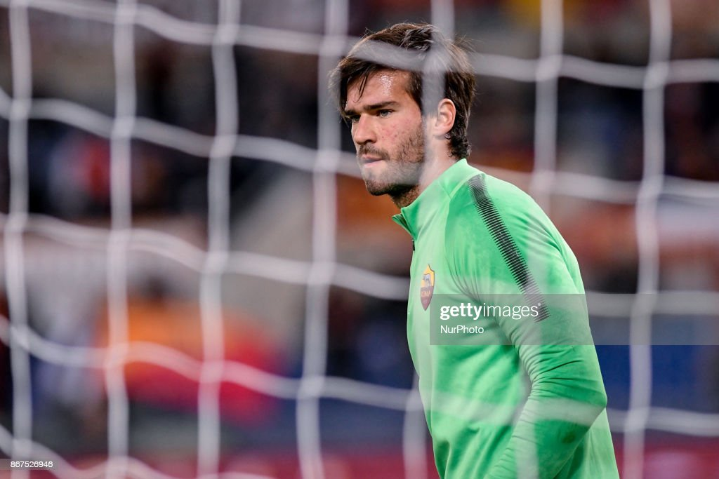 Alisson Becker of Roma during the Serie A match between Roma and Bologna at Olympic Stadium, Roma, Italy on 28 October 2017.