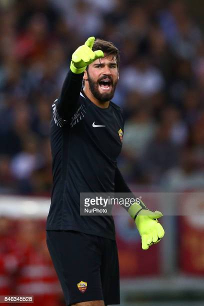 Alisson Becker of Roma during the UEFA Champions League Group C football match between AS Roma and Atletico Madrid on September 12 2017 at the...