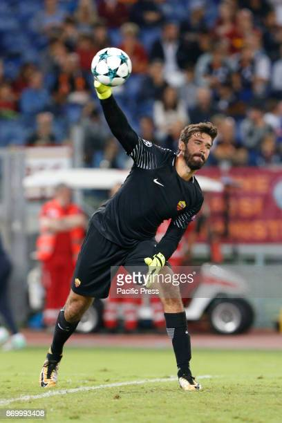 Alisson Becker of Roma during the UEFA Champions League Group C soccer match against Atletico Madrid in Rome The match ended in a 00 draw
