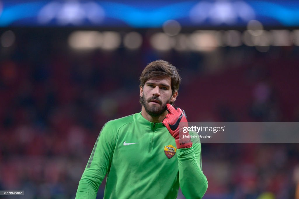 Alisson Becker of Roma looks on before the match between Atletico Madrid and AS Roma as part of the UEFA Champions League at Wanda Metropolitano Stadium on November 22, 2017 in Madrid, Spain.