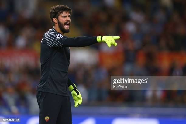Alisson Becker of Roma shouts instructions during the UEFA Champions League Group C football match between AS Roma and Atletico Madrid on September...