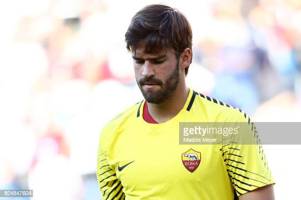 Alisson Becker reacts during the second half against Juventus during the International Champions Cup 2017 match at Gillette Stadium on July 30 2017...