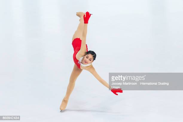 Alisson Krystle Perticheto of Philippines competes in the Ladies Free Skating during the Nebelhorn Trophy 2017 at Eissportzentrum on September 30...