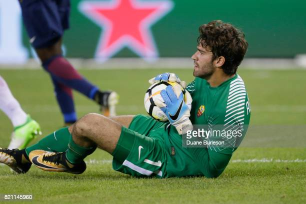 Alisson of AS Roma makes a save against Paris SaintGermain during the second half at Comerica Park on July 19 2017 in Detroit Michigan