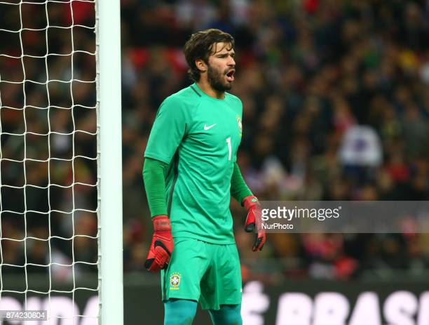 Alisson of Brazil during International Friendly match between England and Brazil at Wembley stadium London on 14 Nov 2017