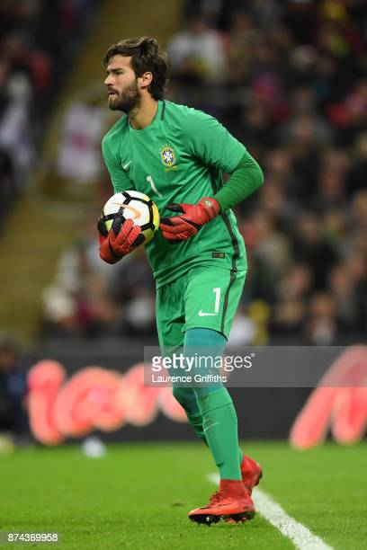 Alisson of Brazil in action during the International Friendly match between England and Brazil at Wembley Stadium on November 14 2017 in London...