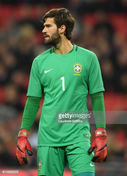 Alisson of Brazil looks on during the International Friendly match between England and Brazil at Wembley Stadium on November 14 2017 in London England