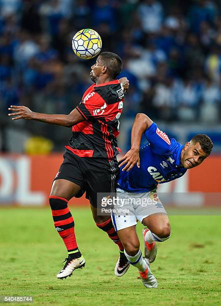 Alisson of Cruzeiro and Rodinei of Flamengo battle for the ball during a match between Cruzeiro and Flamengo as part of Brasileirao Series A 2016 at...