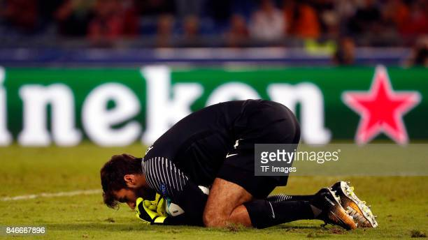 Alisson of Rom looks on during the UEFA Champions League group C match between AS Roma and Atletico Madrid at Stadio Olimpico on September 12 2017 in...
