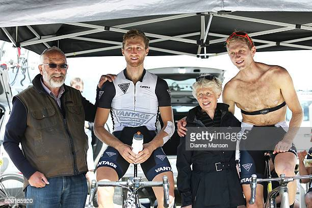Alistair and Hamish Bond with their parents after finishing stage three from Mossburn to Coronet Peak of the 2016 Tour of Southland on November 02...
