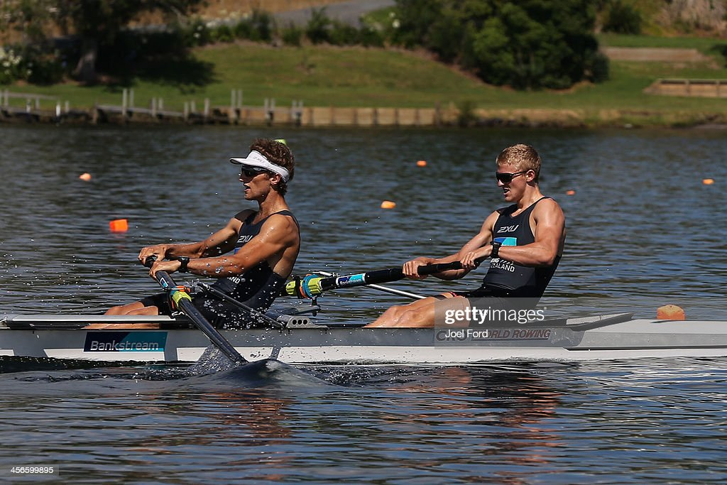 Alistair Bond and Adam Ling of the NZ Summer Squad compete in the men's premier coxless pair during the Christmas Regatta 1 at Lake Karapiro on December 15, 2013 in Cambridge, New Zealand.