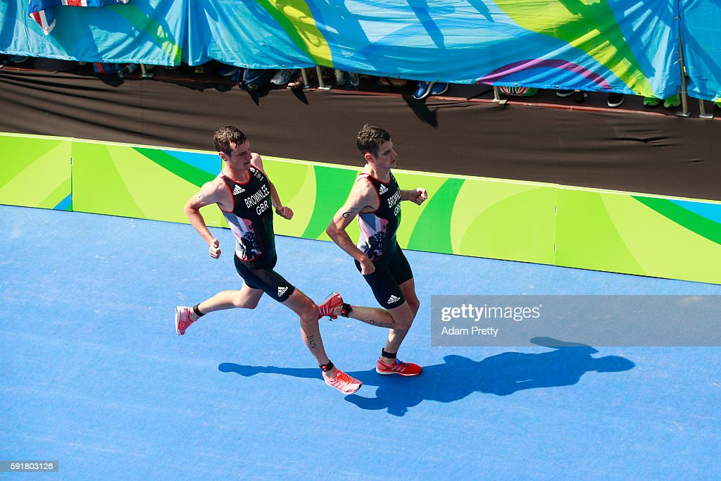 Alistair Brownlee and Jonathan Brownlee of Great Britain compete during the Men's Triathlon at Fort Copacabana on Day 13 of the 2016 Rio Olympic...