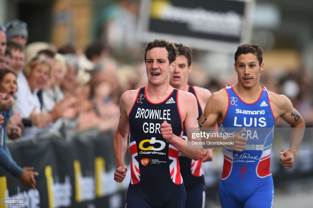 Alistair Brownlee of Great Britain competes in the Men's ITU World Triathlon sprint event chased by Vincent Luis of France and Jonathan Brownlee of...