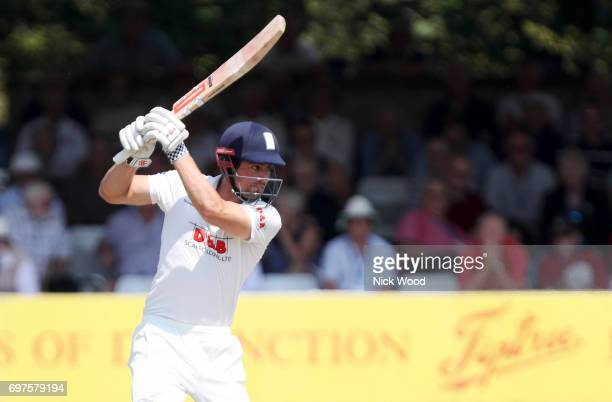 Alistair Cook of Essex hits out whilst batting during the Essex v Warwickshire Specsavers County Championship Division One cricket match at the...