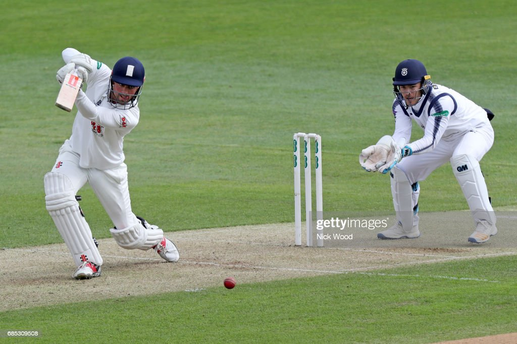 Alistair Cook of Essex keeps a close eye on the ball during the Essex v Hampshire - Specsavers County Championship: Division One cricket match at the Cloudfm County Ground on May 19, 2017 in Chelmsford, England.