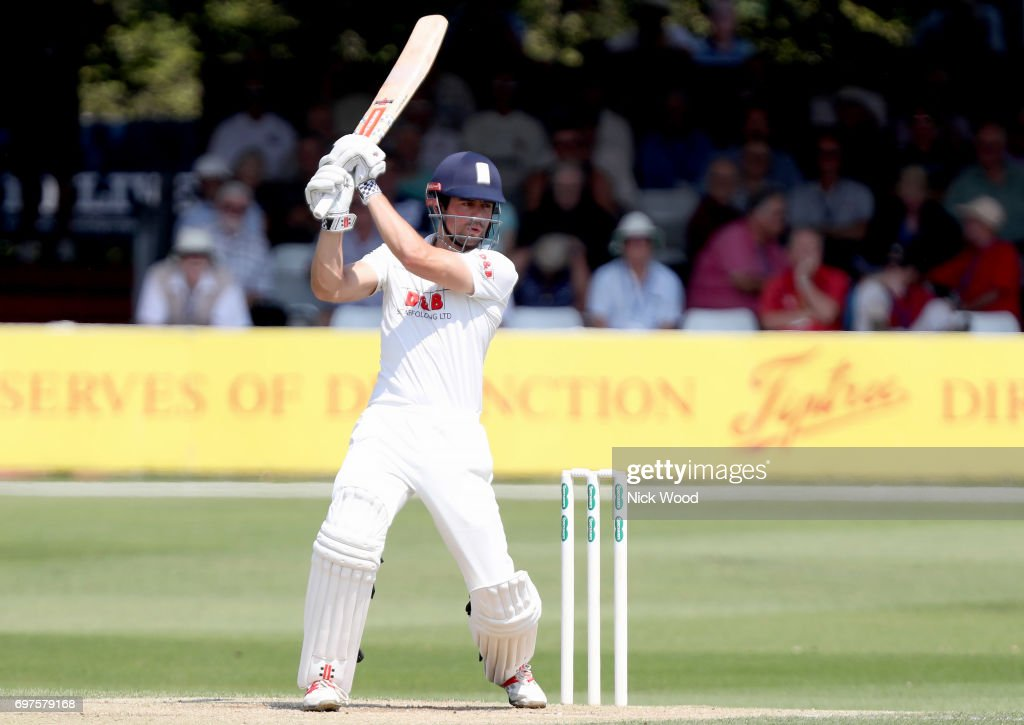Alistair Cook of Essex targets the boundary during the Essex v Warwickshire - Specsavers County Championship: Division One cricket match at the Cloudfm County Ground on JUNE 19, 2017 in Chelmsford, England.