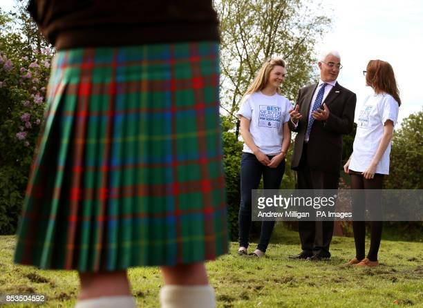 Alistair Darling with Katie Dearden and Emilia Bona during the launch of a new Better Together ad campaign in Edinburgh