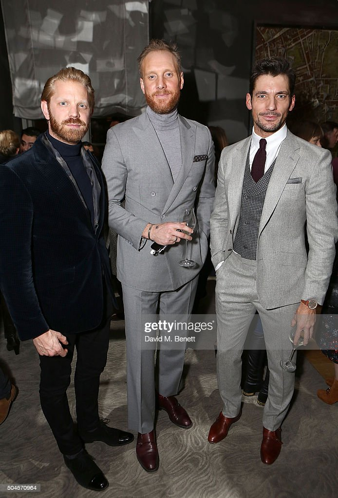 Alistair Guy, Joe Ottoway and David Gandy attend a reception hosted by Marks & Spencer and ShortList Magazine to celebrate London Collections Men AW16 at Rosewood London on January 11, 2016 in London, England.