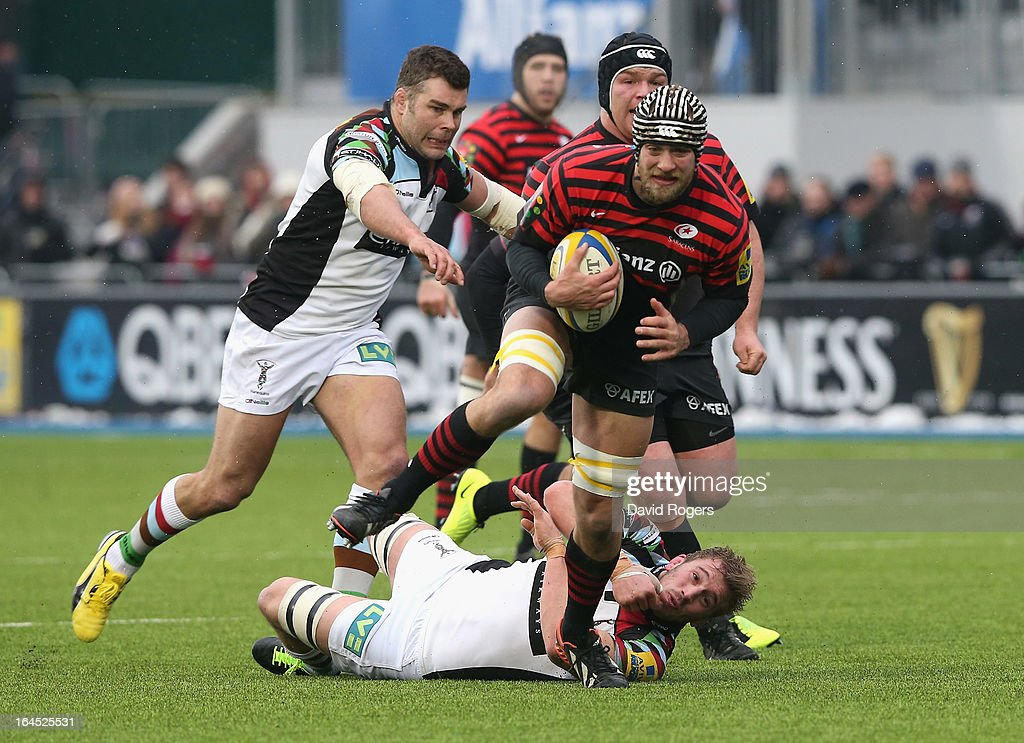 <a gi-track='captionPersonalityLinkClicked' href=/galleries/search?phrase=Alistair+Hargreaves&family=editorial&specificpeople=2488085 ng-click='$event.stopPropagation()'>Alistair Hargreaves</a> of Saracens charges upfield during the Aviva Premiership match between Saracens and Harlequins at Allianz Park on March 24, 2013 in Barnet, England.